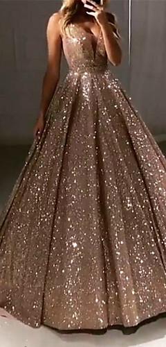 levne -Plesové šaty Luxusní Třpyt Quinceanera Maturitní ples Šaty Do V Bez rukávů Dlouhá vlečka Flitry s Sklady Flitry 2020