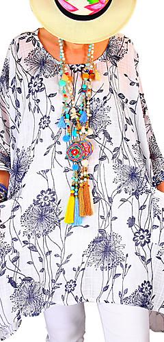 billige -Bluse Dame - Blomstret, Trykt mønster Grunnleggende Hvit