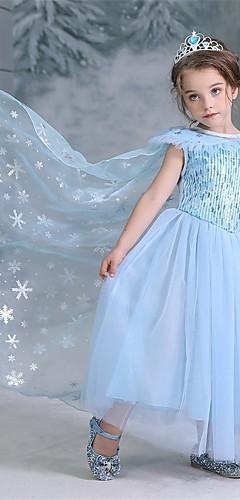 economico -Da principessa Elsa Vestiti Da ragazza Cosplay da film Halloween Natale Blu Halloween