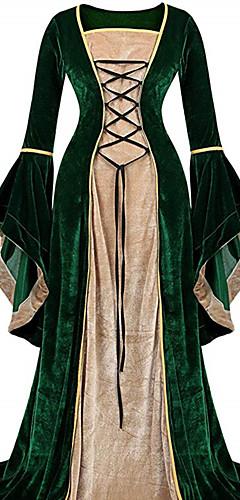 voordelige -Retro vintage Middeleeuws Jurken Dames Fluweel Kostuum Zwart / Paars / Groen Vintage Cosplay Feest Schoolfeest Lange mouw Tot de grond Lange Lengte / Kleding / Kleding