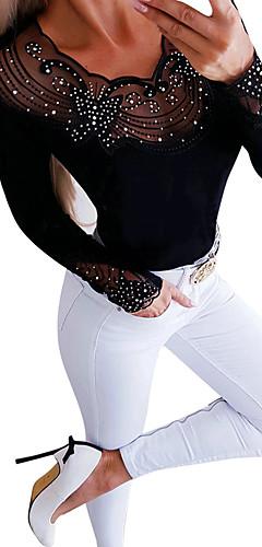 ราคาถูก -สำหรับผู้หญิง เสื้อสตรี พื้นฐาน / Street Chic ลายต่อ สีพื้น สีดำ