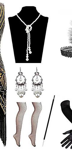 voordelige -Charleston Vintage 1920s Gatsby Flapper Dress Kostuumaccessoiresets Dames Kostuum Rood / zwart / Gouden + Black / Wit Vintage Cosplay / Kleding / Handschoenen / Hoofddeksels / 1 Ketting / Oorbellen