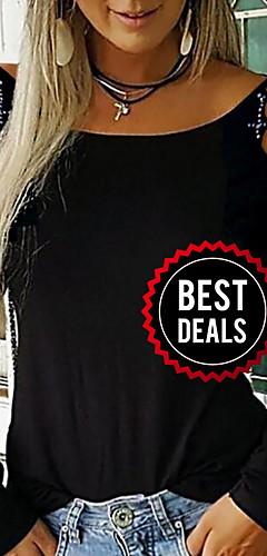 ราคาถูก -สำหรับผู้หญิง เสื้อเชิร์ต สีพื้น สีดำ