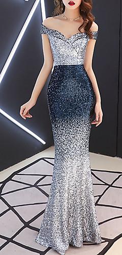 levne -Mořská panna Barevné bloky Modrá Zásnuby Formální večer Šaty Pod rameny Krátký rukáv Na zem Polyester s Flitry 2020