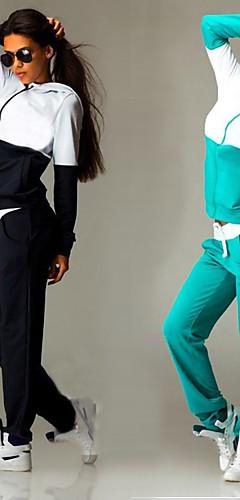 رخيصةأون -نسائي 2pcs بقع سحاب بدلة رياضية بذلة رياضة الشتاء ركض Fitness الركض رياضات الأزرق الملكي الزمرد الأخضر قياس كبير الدفء متنفس رطوبة فتل أطقم ملابس رياضية كم طويل ألبسة رياضية قابل للبسط فضفاض