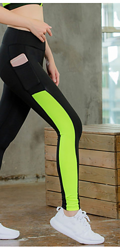 cheap -YUERLIAN Women's Running Tights Leggings Compression Pants Running Cropped Tights Athletic Tights Leggings with Phone Pocket Side-Stripe Elastane Zumba Fitness Gym Workout Running Tummy Control