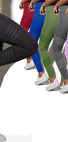 ราคาถูก -สำหรับผู้หญิง สูงกว่าปกติ กางเกงโยคะ สีทึบ สีดำ สีม่วง สีเขียว แดง สีชมพู การออกกำลังกาย ยิมออกกำลังกาย ถุงน่องการขี่จักรยาน เลกกิ้ง กีฬา ชุดทำงาน ระบายอากาศ Moisture Wicking Butt Lift Tummy Control