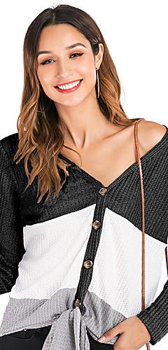 ราคาถูก -สำหรับผู้หญิง เสื้อสตรี ลายบล็อคสี สีดำ
