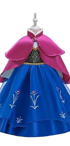 povoljno -Princeza Ana Haljine Povorka maski Cvjetna djevojka haljina Djevojčice Filmski Cosplay Line-Slip Retro / vintage Cosplay Ink Blue / Plava Haljina Halloween Karneval Maškare Til Poliester