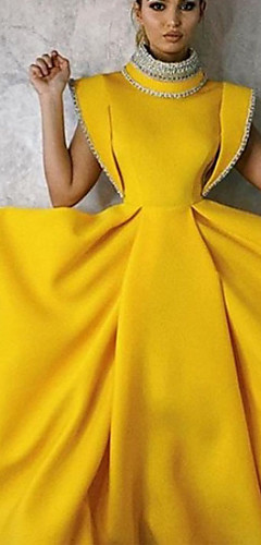 cheap -A-Line Vintage Yellow Party Wear Formal Evening Dress High Neck Sleeveless Tea Length Satin with Beading 2020