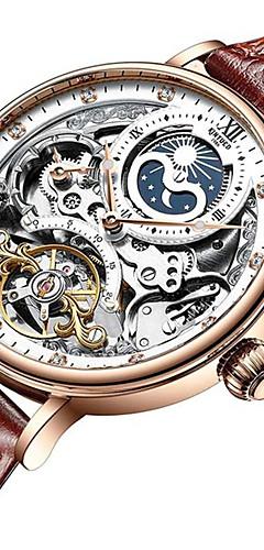 ราคาถูก -สำหรับผู้ชาย วิศวกรรมนาฬิกา ไขลานอัตโนมัติ สไตล์ หนังแท้ ดำ / น้ำตาล 30 m กันน้ำ ปฏิทิน noctilucent ระบบอนาล็อก ไม่เป็นทางการ แฟชั่น - สีดำ สีน้ำตาล Black / Gold สองปี อายุการใช้งานแบตเตอรี่