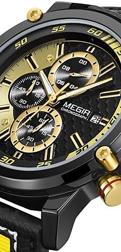 ราคาถูก -MEGIR สำหรับผู้ชาย นาฬิกาตกแต่งข้อมือ นาฬิกาอิเล็กทรอนิกส์ (Quartz) รูปแบบชุดเป็นทางการ สไตล์ หนัง ดำ / เหลือง 30 m ปฏิทิน ระบบอนาล็อก ความหรูหรา แฟชั่น - สีทอง สีทอง+สีดำ / หนึ่งปี