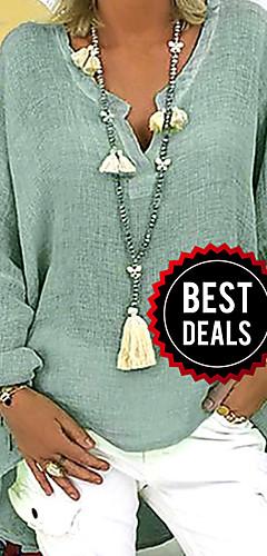 ราคาถูก -สำหรับผู้หญิง ขนาดพิเศษ เสื้อสตรี คอวี หลวม สีพื้น สีดำ