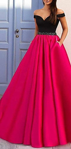 cheap -A-Line Color Block Prom Formal Evening Dress Off Shoulder Short Sleeve Sweep / Brush Train Satin with Beading 2020