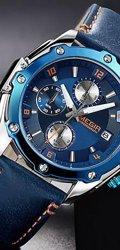 ราคาถูก -MEGIR สำหรับผู้ชาย นาฬิกาแนวสปอร์ต สายการบิน นาฬิกาไฮบริด ญี่ปุ่น นาฬิกาอิเล็กทรอนิกส์ (Quartz) สามตาหกเข็ม หนังแท้ ดำ / น้ำตาล / สีสระน้ำ 30 m กันน้ำ ปฏิทิน โครโนกราฟ ระบบอนาล็อก ความหรูหรา แฟชั่น -