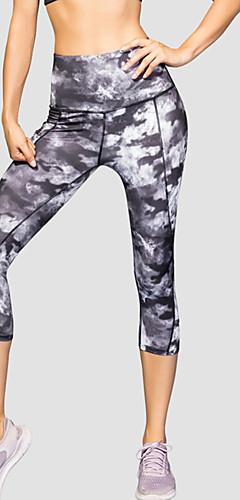 ราคาถูก -สำหรับผู้หญิง เอวสูง กางเกงโยคะ กระเป๋า พิมพ์ 3D สีดำ สีเทาเข้ม สีฟ้า สีม่วง แดง สแปนเด็กซ์ Elastane วิ่ง การออกกำลังกาย ยิมออกกำลังกาย 3/4 ถุงน่อง กีฬา ชุดทำงาน แห้งเร็ว Butt Lift Tummy Control