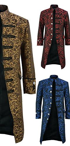 abordables -Docteur de la peste Rétro Vintage Gothique Steampunk Manteau Bal Masqué Homme Coton Costume Jaune / Rouge / Bleu Vintage Cosplay Soirée Halloween Manches Longues