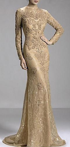 levne -Mořská panna Luxusní Zlatá Zásnuby Formální večer Šaty Klenot Dlouhý rukáv Dlouhá vlečka Krajka s Korálky Aplikace 2020