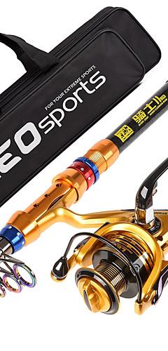 رخيصةأون -Fishing Rod + Reel Telespin رود 180/210/240/270/300/360 cm كربون تلسكوبي الصيد البحري صيد الأسماك الغزلي