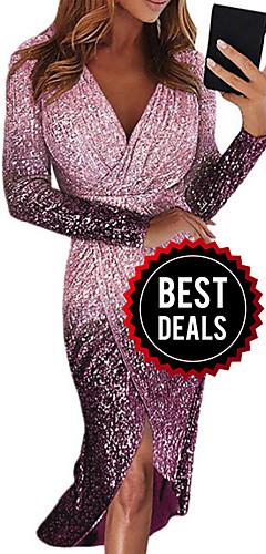ราคาถูก -สำหรับผู้หญิง สง่างาม ปลอก แต่งตัว - ลายเลื่อม, ลายบล็อคสี ไม่สมดุล