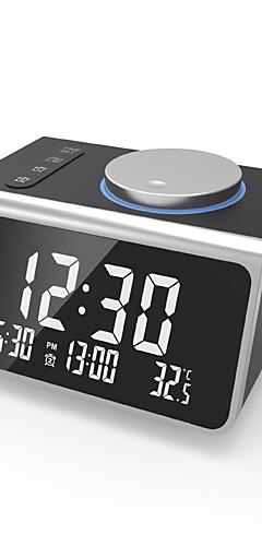 preiswerte -Digitalwecker, mit FM-Radio, zwei USB-Ladeanschlüssen, Temperaturerkennung, zwei Alarmen, Schlummerfunktion, Dimmer mit 5 Helligkeitsstufen, Batteriebetrieb, für Schlafzimmer, kleiner Sleep-Timer