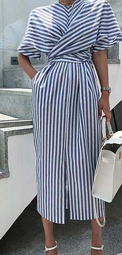 ราคาถูก -สำหรับผู้หญิง พื้นฐาน เสื้อเชิร์ต แต่งตัว - โบว์ แยก ลายพิมพ์, ลายแถบ ขนาดใหญ่