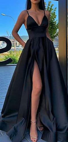 levne -A-Linie Sexy Černá Maturitní ples Formální večer Šaty Špagetová ramínka Bez rukávů Dlouhá vlečka Satén s Sklady Rozparek vpředu 2020