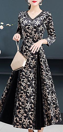 ราคาถูก -สำหรับผู้หญิง วินเทจ สง่างาม ปลอก สวิง แต่งตัว - ลายพิมพ์, ลายดอกไม้ midi