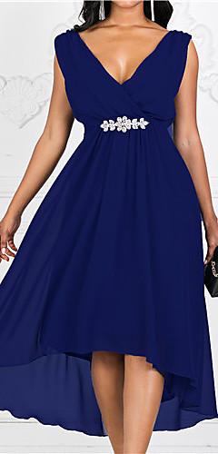 ราคาถูก -สำหรับผู้หญิง Tömör szín รูปตัว เอ แต่งตัว สีพื้น ขนาดใหญ่ คอวี / ขนาดพิเศษ