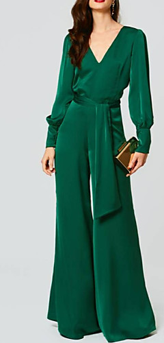 cheap -Jumpsuits Beautiful Back Green Wedding Guest Formal Evening Dress V Neck Long Sleeve Floor Length Chiffon with Sash / Ribbon 2020
