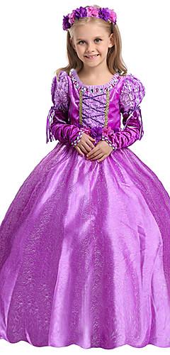 povoljno -Rapunzel Haljine Povorka maski Cvjetna djevojka haljina Djevojčice Filmski Cosplay Line-Slip Cosplay Halloween purpurna boja Haljina Halloween Karneval Maškare Til Pamuk