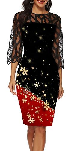 ราคาถูก -สำหรับผู้หญิง ปาร์ตี้ 1920s สง่างาม Flapper แต่งตัว ลายบล็อคสี ยาวถึงเข่า Gatsby