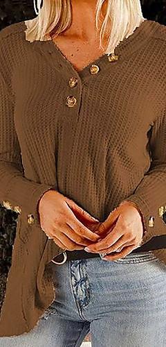 ราคาถูก -สำหรับผู้หญิง เสื้อสตรี สีพื้น สีดำ