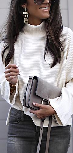 ราคาถูก -สำหรับผู้หญิง เสื้อสตรี พื้นฐาน ลายต่อ สีพื้น White ขาว