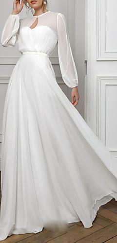levne -A-Linie Empírový Bílá Dovolená Formální večer Šaty Illusion Neckline Dlouhý rukáv Na zem Šifón s Sklady 2020