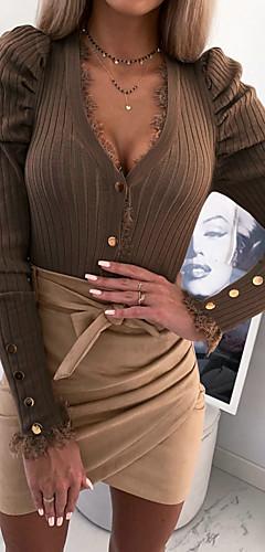 ราคาถูก -สำหรับผู้หญิง เสื้อสตรี พื้นฐาน ลูกไม้ สีพื้น สีดำ