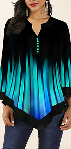 ราคาถูก -สำหรับผู้หญิง เสื้อสตรี ไม่เป็นทางการ คอวี Color Gradient สีน้ำเงิน / ฤดูใบไม้ผลิ / ตก