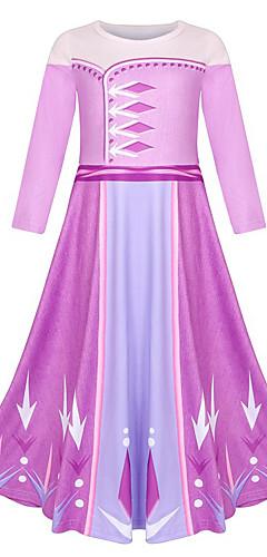 povoljno -Elsa Haljine Povorka maski Cvjetna djevojka haljina Djevojčice Filmski Cosplay Line-Slip Cosplay Halloween purpurna boja Haljina Halloween Karneval Maškare Poliester