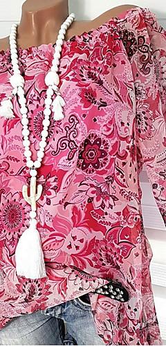 ราคาถูก -สำหรับผู้หญิง เสื้อสตรี รูปเรขาคณิต สีบานเย็น