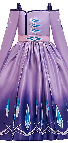 povoljno -Elsa Haljine Cvjetna djevojka haljina Djevojčice Filmski Cosplay Line-Slip Halloween Božić purpurna boja / Plava Haljina Halloween