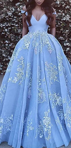 cheap -Ball Gown Floral Luxurious Quinceanera Formal Evening Dress Off Shoulder Short Sleeve Chapel Train Tulle with Pleats Appliques 2020