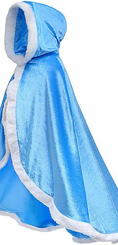 povoljno -Princeza Fairytale Elsa Haljine Plašt Cvjetna djevojka haljina Dječji Djevojčice Line-Slip Prikriti Kamado roštilj Božić Halloween Maškare Festival / Praznik Flanel purpurna boja / Bijela / Plava