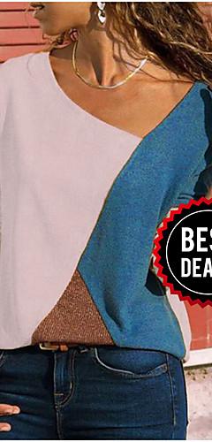 ราคาถูก -สำหรับผู้หญิง ขนาดพิเศษ เสื้อสตรี คอวี ลายบล็อคสี สีเหลือง / ฤดูใบไม้ผลิ / ตก