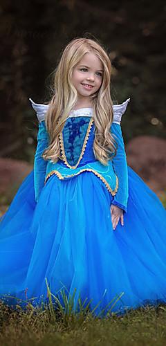 povoljno -Cinderella Aurora Haljine Cvjetna djevojka haljina Dječji Djevojčice Line-Slip Božić Halloween Maškare Festival / Praznik Polyster Plava / Pink Karneval kostime Color block / Haljina / Haljina