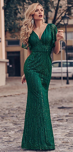 cheap -Mermaid / Trumpet Sparkle Green Engagement Formal Evening Dress V Neck Short Sleeve Floor Length Tulle with Sequin 2020
