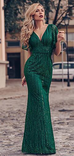 levne -Mořská panna Třpyt Zelená Zásnuby Formální večer Šaty Do V Krátký rukáv Na zem Tyl s Flitry 2020