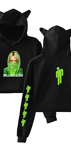 cheap -Inspired by Cosplay Billie Eilish Cosplay Costume Hoodie Cotton Fibre Print Printing Hoodie For Women's