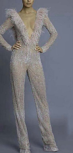 cheap -Jumpsuits Sparkle Holiday Formal Evening Dress V Neck Long Sleeve Floor Length Polyester with Sequin 2020