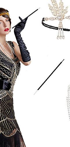 povoljno -The Great Gatsby Čarlston 1920s Gatsby Roaring 20s Setovi dodataka za kostime Rukavice Traka za kosu u stilu 20-ih Žene Rese Kostim Šeširi Naušnica Igazgyöngy nyaklánc Crn / Zlatan / Crna + Sliver