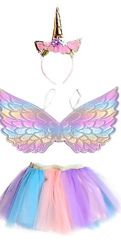 povoljno -Unicorn Suknja Izgledi Šeširi Djevojčice Filmski Cosplay Cosplay Halloween purpurna boja Suknje Wings Šeširi Halloween Karneval Maškare Poliester